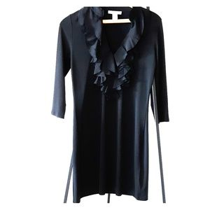 WHBM Black Dress with Ruffles